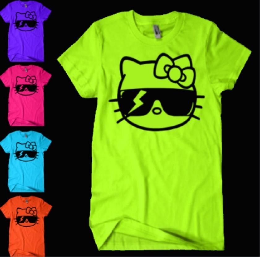 Hello Kitty Lady Gaga Monster Sunglasses T Shirt NEON