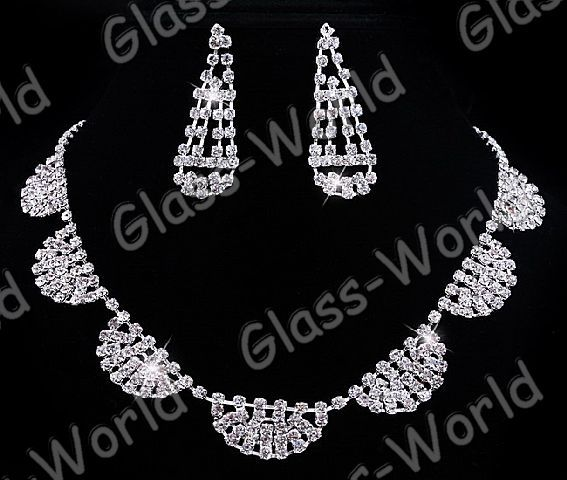 Austrian Rhinestone Crystal Clear Necklace&Earrings set