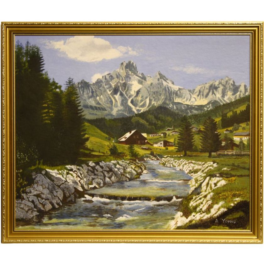 Swiss Alpine Mountain Range Alps Oil Painting
