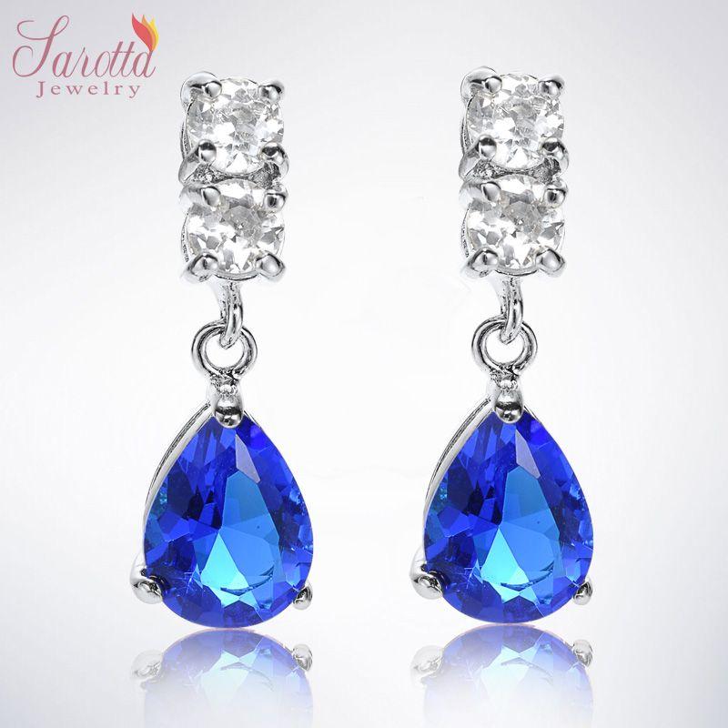 Fashion Jewelry Lady Pear Cut Blue Sapphire White Gold GP Drop Stud