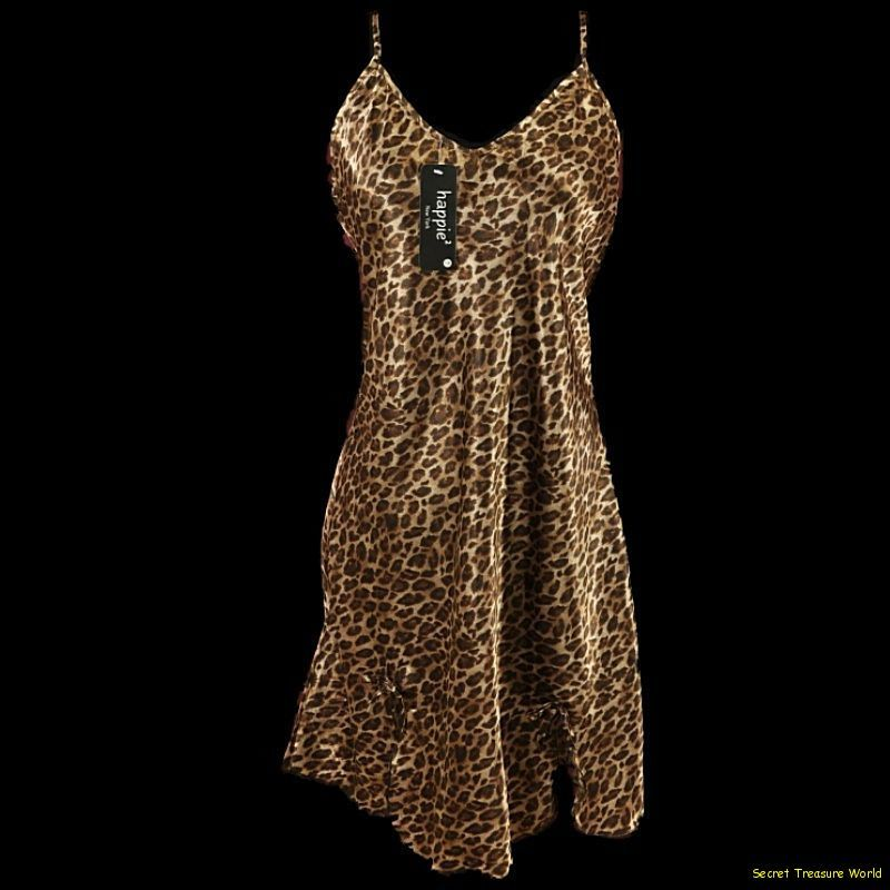 Sensual Animal Leopard Tiger Print Negligee PJ Nightgown Plus 1X 2X 3X